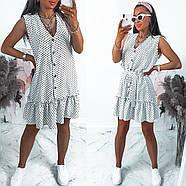 Сукня жіноча вільного крою на ґудзиках, на спідниці легка збірка у вигляді широкого волана, 00960 (Білий),, фото 3