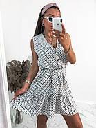 Сукня жіноча вільного крою на ґудзиках, на спідниці легка збірка у вигляді широкого волана, 00960 (Білий),, фото 4