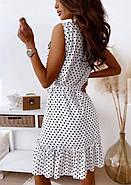 Сукня жіноча вільного крою на ґудзиках, на спідниці легка збірка у вигляді широкого волана, 00960 (Білий),, фото 6