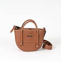 Маленька жіноча сумочка-саквояж K56-20/1 руда сумка через плече крос-боді молодіжна з ручками, фото 1