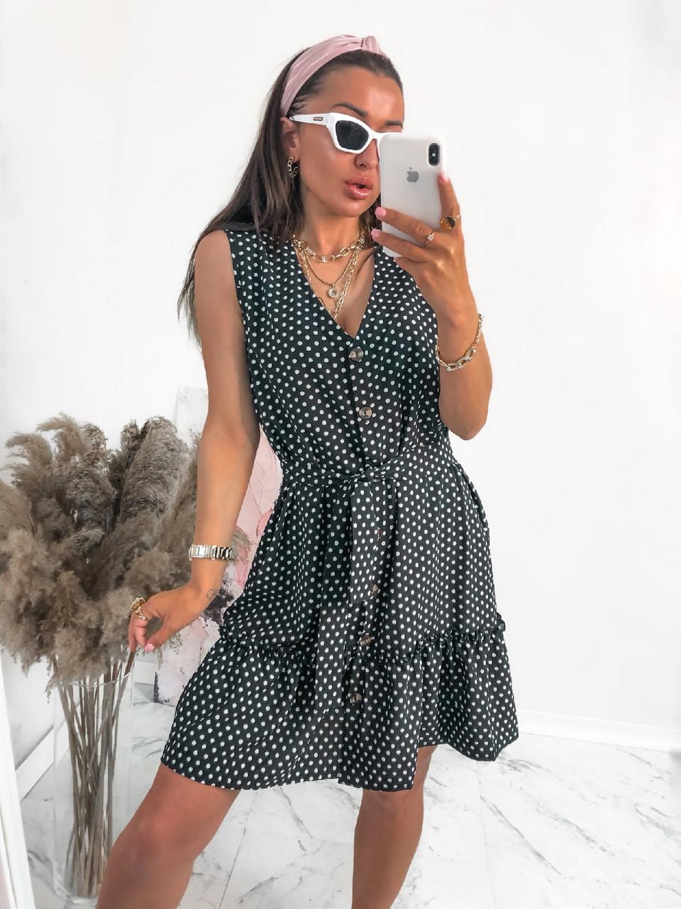 Жіноче літнє плаття в горошок без рукавів, на ґудзиках, 00961 (Чорний), Розмір 42 (S)