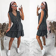 Жіноче літнє плаття в горошок без рукавів, на ґудзиках, 00961 (Чорний), Розмір 42 (S), фото 3