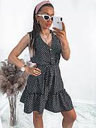 Жіноче літнє плаття в горошок без рукавів, на ґудзиках, 00961 (Чорний), Розмір 42 (S), фото 4