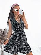 Жіноче літнє плаття в горошок без рукавів, на ґудзиках, 00961 (Чорний), Розмір 42 (S), фото 5