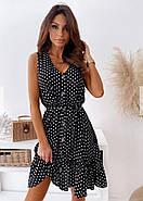 Жіноче літнє плаття в горошок без рукавів, на ґудзиках, 00961 (Чорний), Розмір 42 (S), фото 7