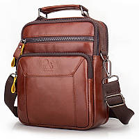 Кожаная сумка мужская Laoshizi Luosen 029 коричневая