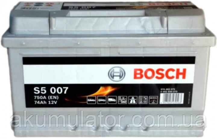 Аккумулятор  BOSCH S5  74 (R+) (750А)