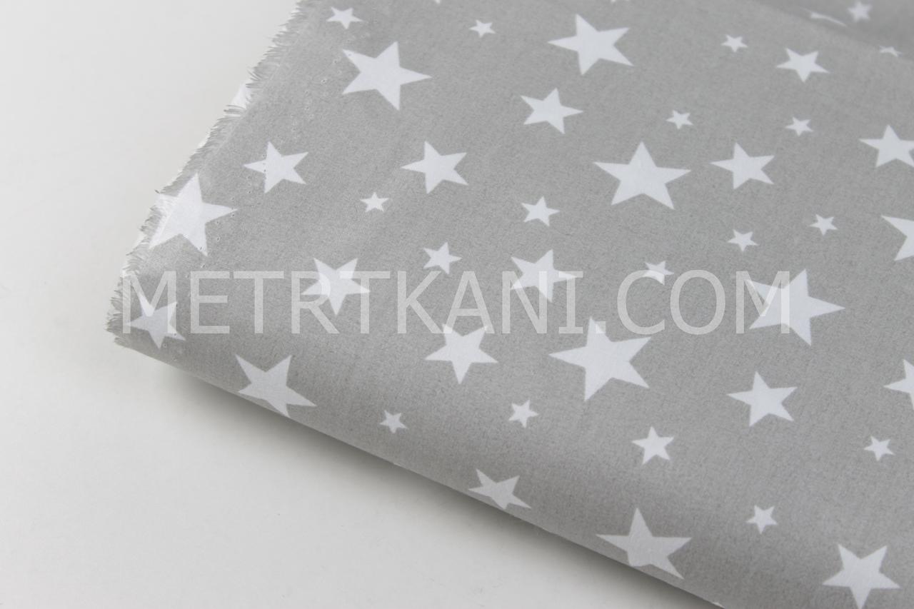 "Лоскуток. Ткань бязь ""Звездопад""  белого цвета на сером фоне № 790, 52*160 см"