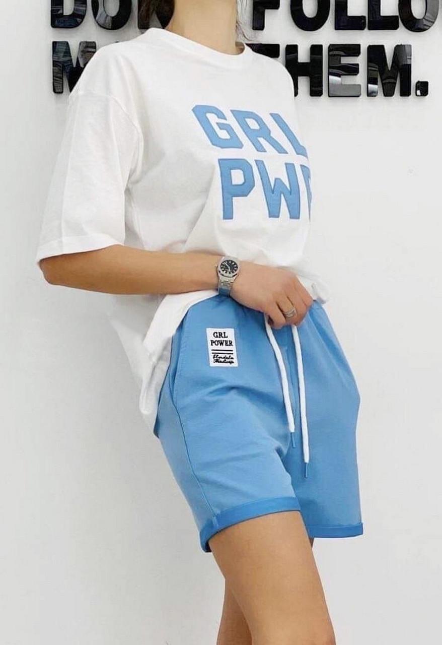 Жіночий костюм з великими літерами (шорти плюс футболка), 00963 (Блакитний), Розмір 42 (S)