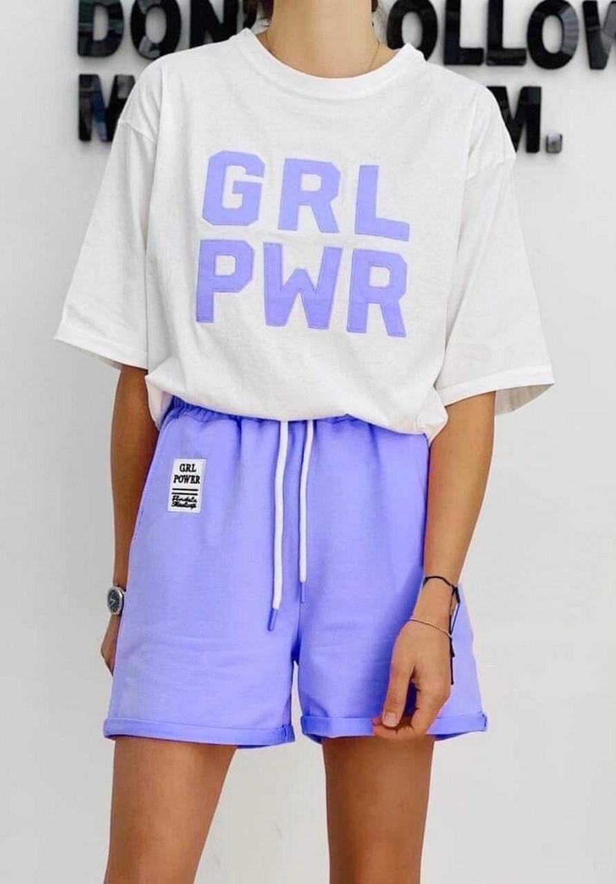 Спортивний костюм жіночий з шортами і футболкою з буквами, 00964 (Бузковий), Розмір 42 (S)