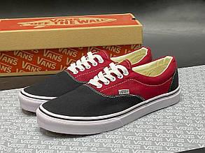 Подростковые(женские) кеды текстильные Vans, черные с красным