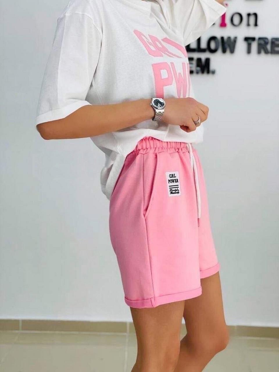 Практичный костюм спортивного стиля с шортами и футболкой, 00965 (Розовый), Размер 46 (L)