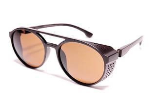 Мужские солнцезащитные круглые очки авиаторы Порше 97373 C2 реплика Коричневые