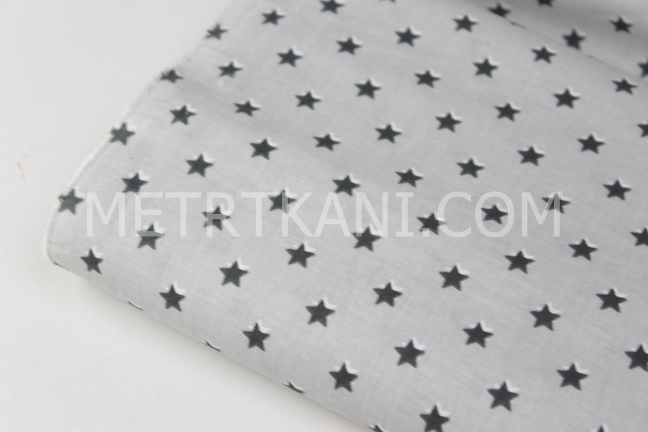 Клаптик. Бавовняна тканина з графітовими зірками 10мм на сірому тлі №1654, 88*160 см