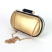 Вечерний клатч-бокс! Женская золотистая сумочка-клатч 975 маленькая на цепочке выпускная на плечо, фото 1
