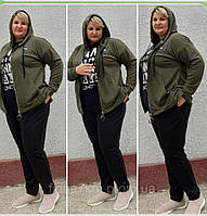 """Спортивний костюм жіночий на блискавці з капюшоном, розмір 48-52 """"ZLATA"""" недорого від прямого постачальника"""