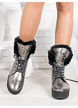 Ботинки зимние женские цвет никель на платформе