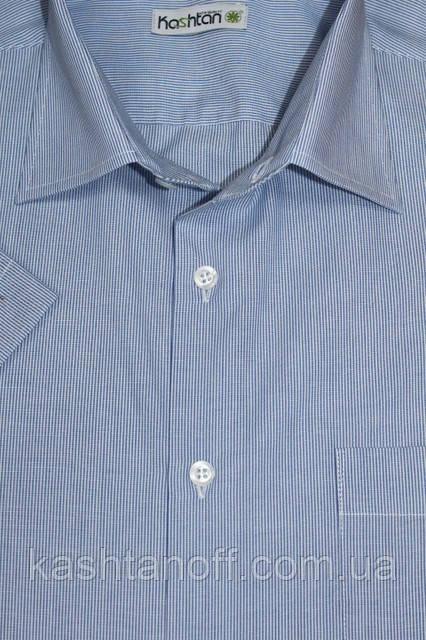 Стильная мужская рубашка голубого цвета в мелкую полоску с коротким рукавом