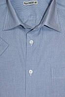 Мужская рубашка голубая в мелкую полоску с коротким рукавом