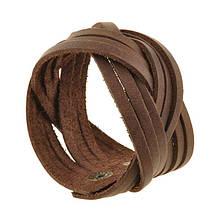 Шкіряний браслет косичка темно-коричневий