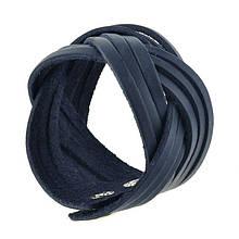 Жіночий шкіряний браслет косичка синій
