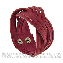 Жіночий шкіряний браслет косичка бордовий