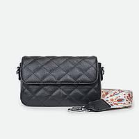 Стебнована маленька жіноча сумка шкіряна чорна 3013