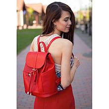 Кожаный женский рюкзак Олсен красный