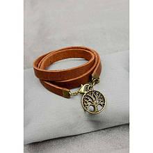 Жіночий шкіряний браслет - стрічка світло-коричневий