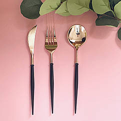 Набор столовых приборов пластик черный+роз золото