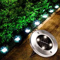 """Вуличний світильник на сонячній батареї """"Bell Howell Disk lights"""" (4 led)   садовий ліхтар"""