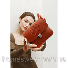Кожаная женская бохо-сумка Лилу светло-коричневая