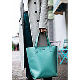 Кожаная женская сумка шоппер D.D. Бирюзовая, фото 7