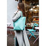 Кожаная женская сумка шоппер D.D. Бирюзовая, фото 8