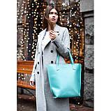 Кожаная женская сумка шоппер D.D. Бирюзовая, фото 9