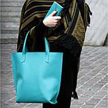 Кожаная женская сумка шоппер D.D. Бирюзовая, фото 10