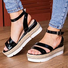 Женские стильные сандалии на танкетке Fashion 1043 36 размер 23 см Черный