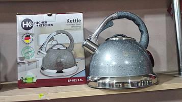 Чайник зі свистком HIGHER+KITCHEN 3.5л Чайник со свистком на газ нержавеющая сталь гранитный дизайн