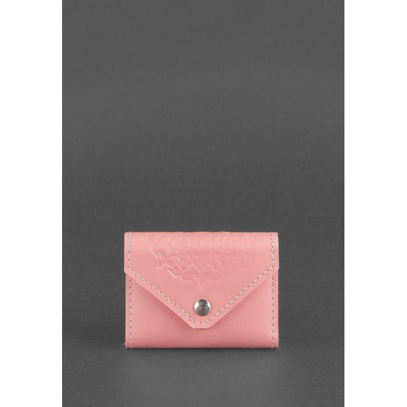 Жіночий шкіряний кард-кейс 3.0 (Гармошка) Рожевий з мандалою