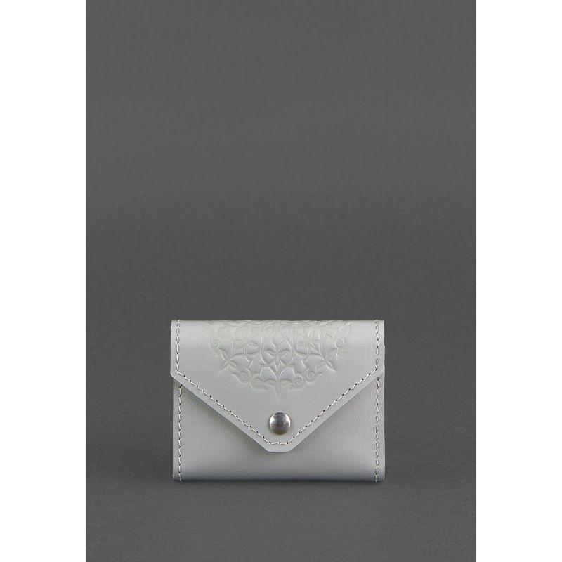 Жіночий шкіряний кард-кейс 3.0 (Гармошка) Сірий з мандалою