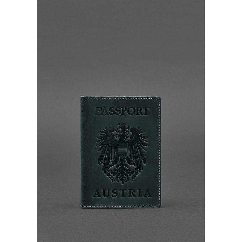 Кожаная обложка для паспорта с австрийским гербом зеленая Crazy Horse