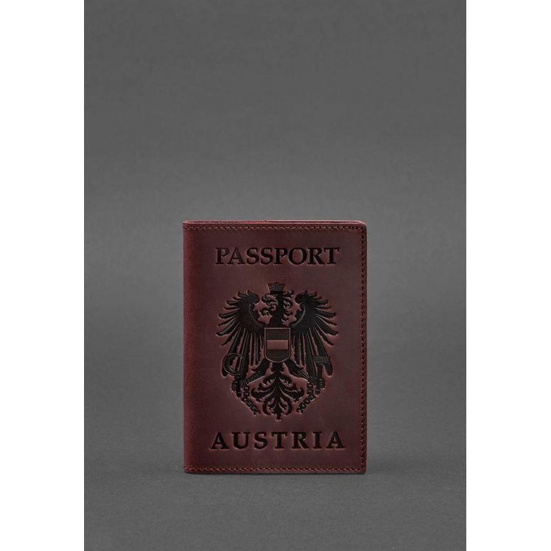 Кожаная обложка для паспорта с австрийским гербом бордовая Crazy Horse