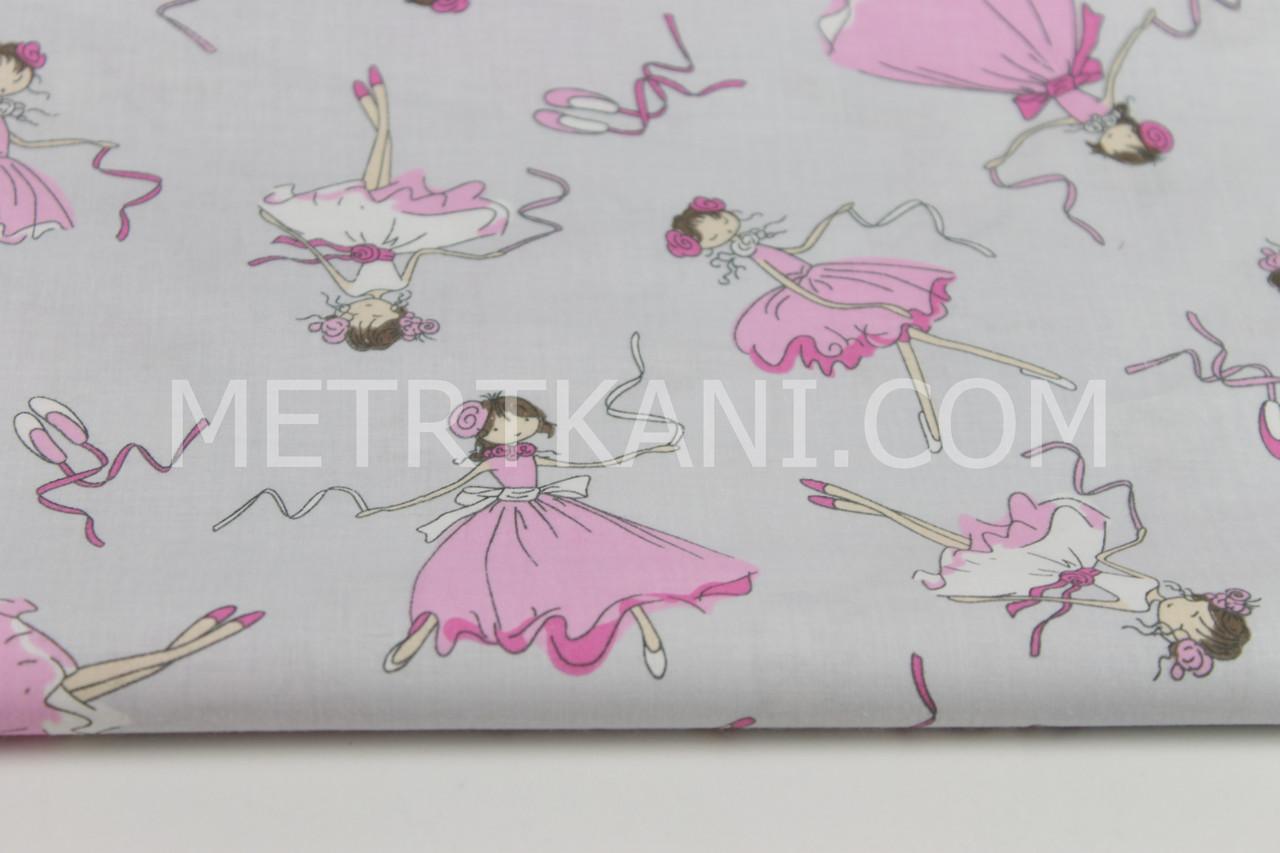 Клаптик. Бавовняна тканина з балеринами на сірому фоні, 80*160 см