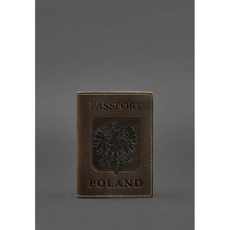 Кожаная обложка для паспорта с польским гербом темно-коричневая Crazy Horse