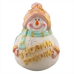 Статуэтка новогодняя Decoline Снеговик с табличкой С Новым Годом рис. цветной (гипс) F1803-5(G)