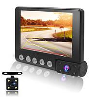 """Автомобільний відеореєстратор на 3 камери C9, LCD 4"""", WDR, 1080P Full HD"""