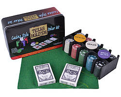 Покерний набір на 200 фішок з номіналом в металевій коробці «Техаський холдем» №200T-2
