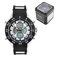 Часы наручные QUAMER 1103-Box, ремешок комбинированный, dual time с подарочной коробкой