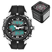 Часы наручные QUAMER 1509-Box, двухцветн. ремешок каучук с подарочной коробкой