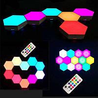 Модульный LED RGB светильник сенсорный настенный с пультом лампа в виде сот с цветным светом 3 шт